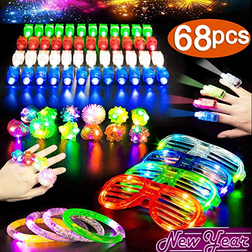 LED Glow Party Favors 68 PACK Light Up Toys Glow in the Dark Party Favors Supplies with 50 Figer Lights 10 Glow Rings 4 Bracelets 4 Neon Glasses For Kids Adults Holiday Birthday Gifts Rave Accessories ()