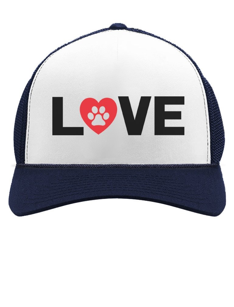 Animal Lover Dog Paw Print - Love Dogs Gift for Dog Lovers Trucker Hat Mesh Cap One Size Navy/White