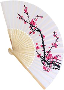 FASHIONCRAFT 6207 Delicate Cherry Blossom Design Silk Folding Fan Favors, 1-Piece