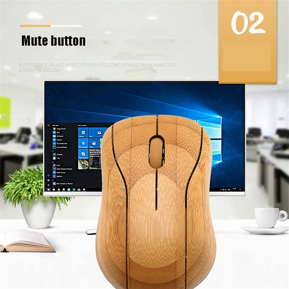 MacBook Laptop Laptop WPCBAA Environmentally Friendly Bamboo 2.4 GHZ10M Wireless Optical Mouse DPI 1200 for PC Computer