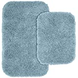 Bathroom Rug Sets Blue Garland Rug 2-Piece Serendipity Shaggy Washable Nylon Bathroom Rug Set, Basin Blue