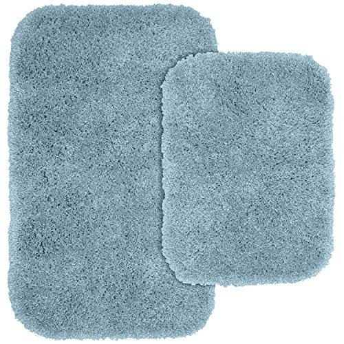 Garland Rug 2-Piece Serendipity Shaggy Washable Nylon Bathroom Rug Set, Basin Blue ()