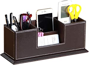 Laikesj PU Leather Desk Organizer with 4 Compartment,Pen Holder, Pencil Caddy,Office Supplies Desktop Storage Box for Business Card/Mobile Phone/Remote Control/stationery/Study Collection(brown)