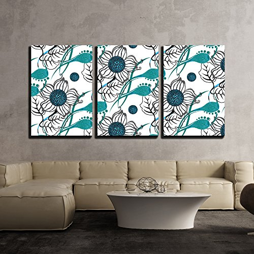 wall26 - 3 Piece Canvas Wall Art - Vector - Repeating Modern Floral Background Pattern. Flower Vector Pattern. - Modern Home Decor Stretched and Framed Ready to Hang - 24