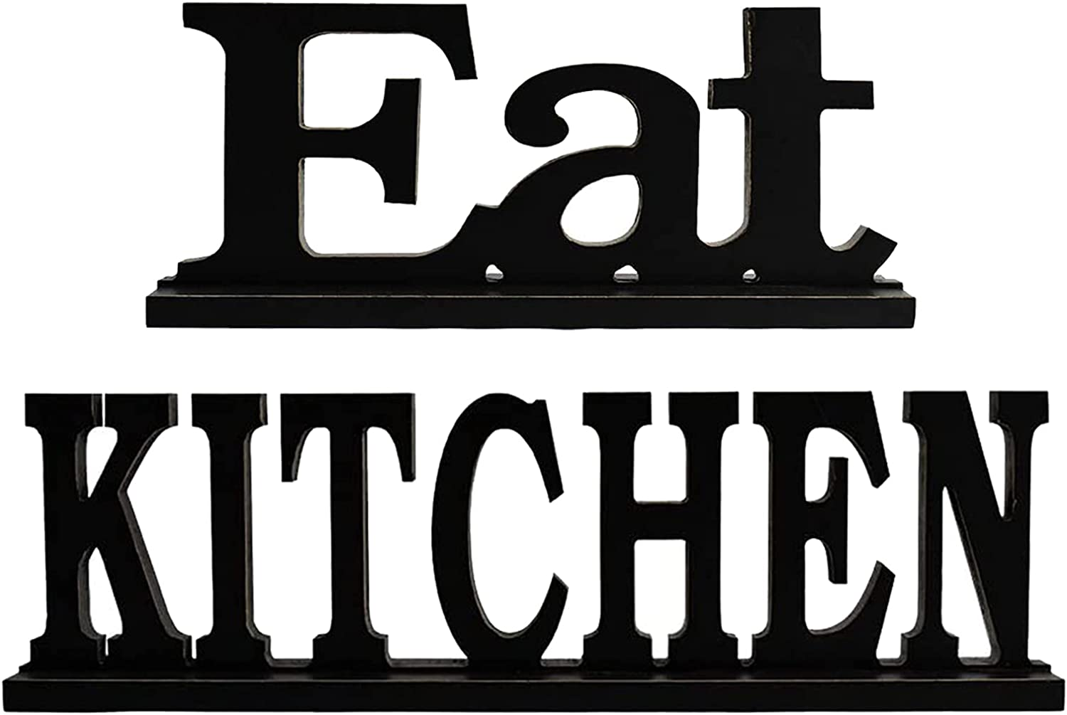 Rustic Wood Sign Home Decor Wooden Freestanding Table Letter Block Word Cutout Tabletop Centerpiece Decorative Signs for Mantel (Eat + Kitchen)