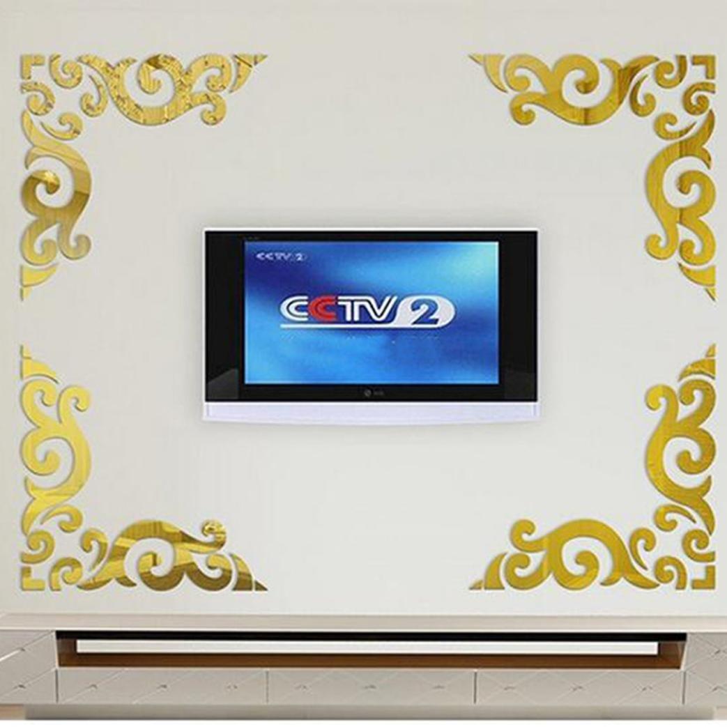 silver kingko/® Diagonal Coin ligne Miroir acrylique Autocollant Mural Diy D/écoration Acrylique autocollant d/écoratif