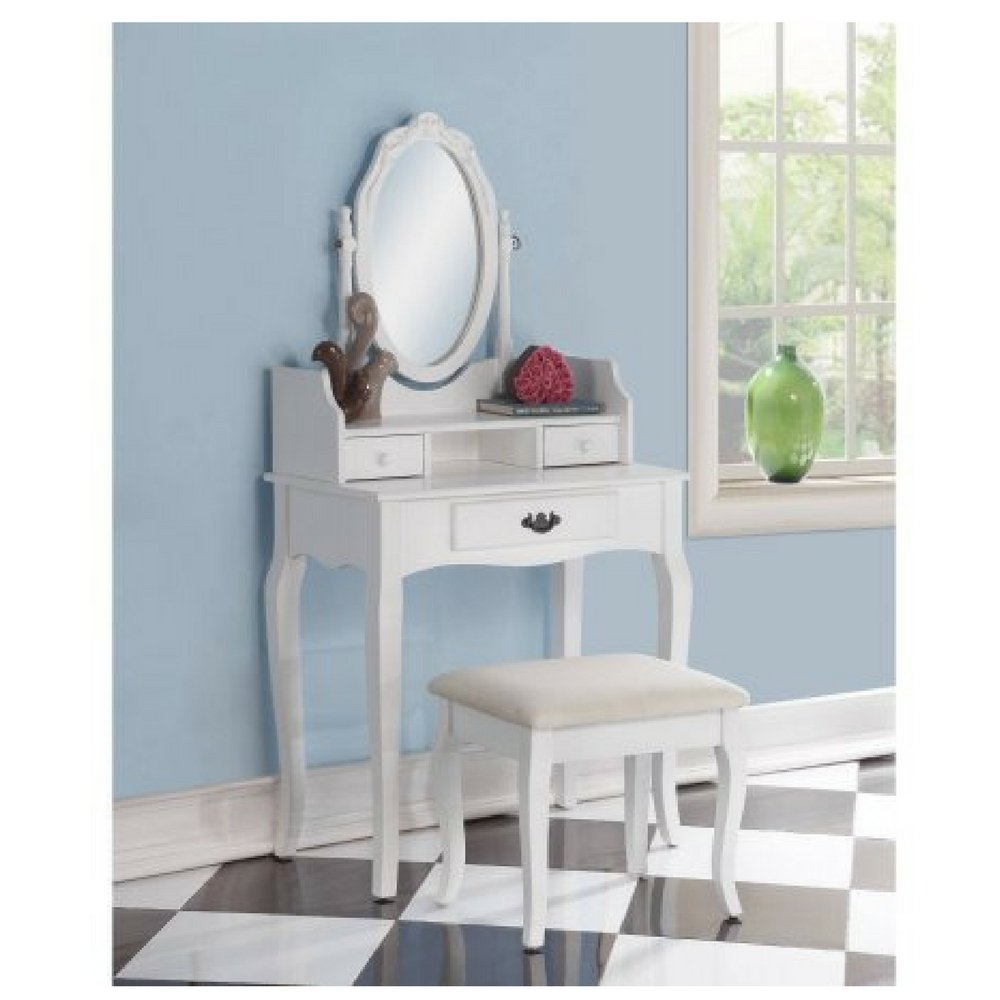 Roundhill Ribbon Wood Make-Up Vanity Table and Stool Set,