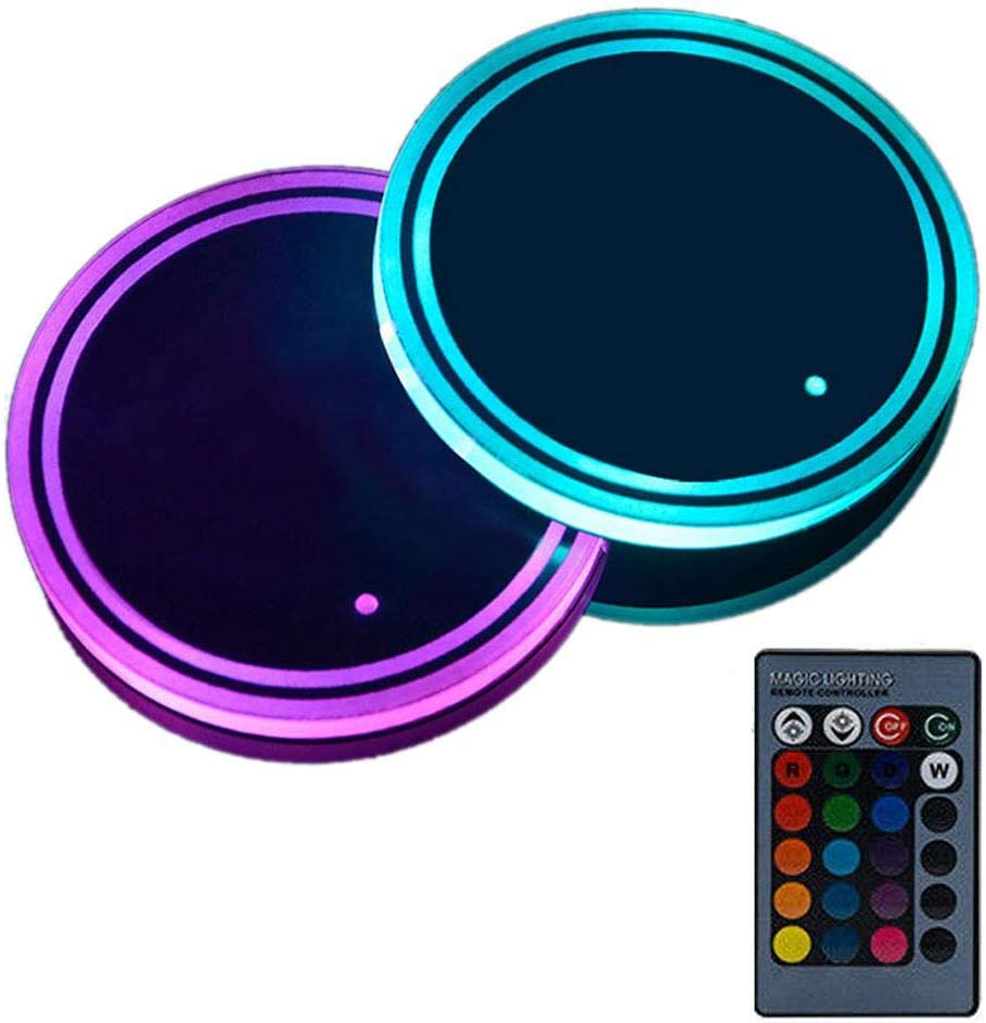 7 Colors USB Changing Luminescent Cup Pad with 17 Lighting Modes Volwco 2PCS LED Cup Holder Lights LED Interior Atmosphere Lamp with Wireless Remote Control