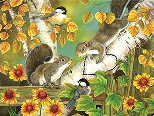 YEESAM ART DIY Paint by Numbers for Adults Beginner Kids, Squirrel and Birds on The Tree 16x20 inch Linen Canvas Acrylic Stress Less Number Painting Gifts (Squirrel, Without Frame)