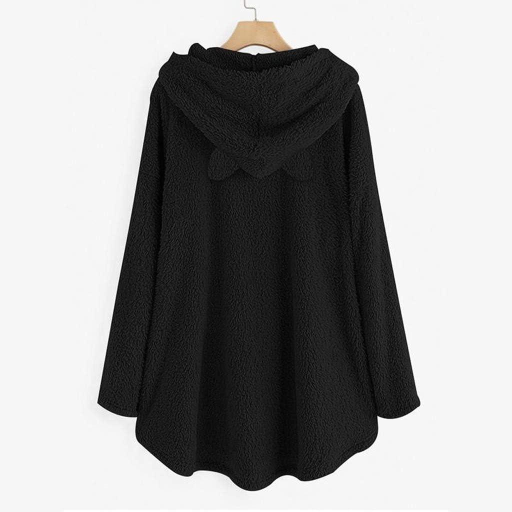 Women/'S Oversized Pullover Sweaters Fleece Casual Hoodies Loose Tunics Top for Teen Girls Graphic Fleece Cat Pockets