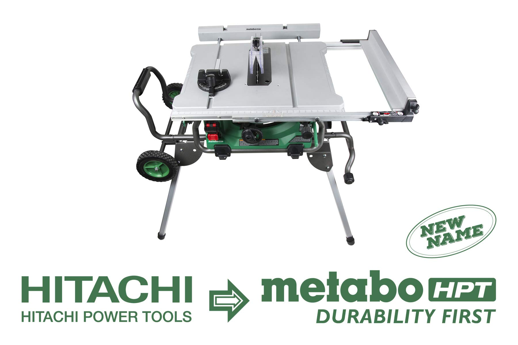 Metabo HPT C10RJ 10'' Jobsite Table Saw, Class-Leading 35'' Rip Capacity, Fold & Roll Stand, 8 x 13/16'' Dado Capacity, Portable & Lightweight, 2-Year Warranty by Metabo HPT