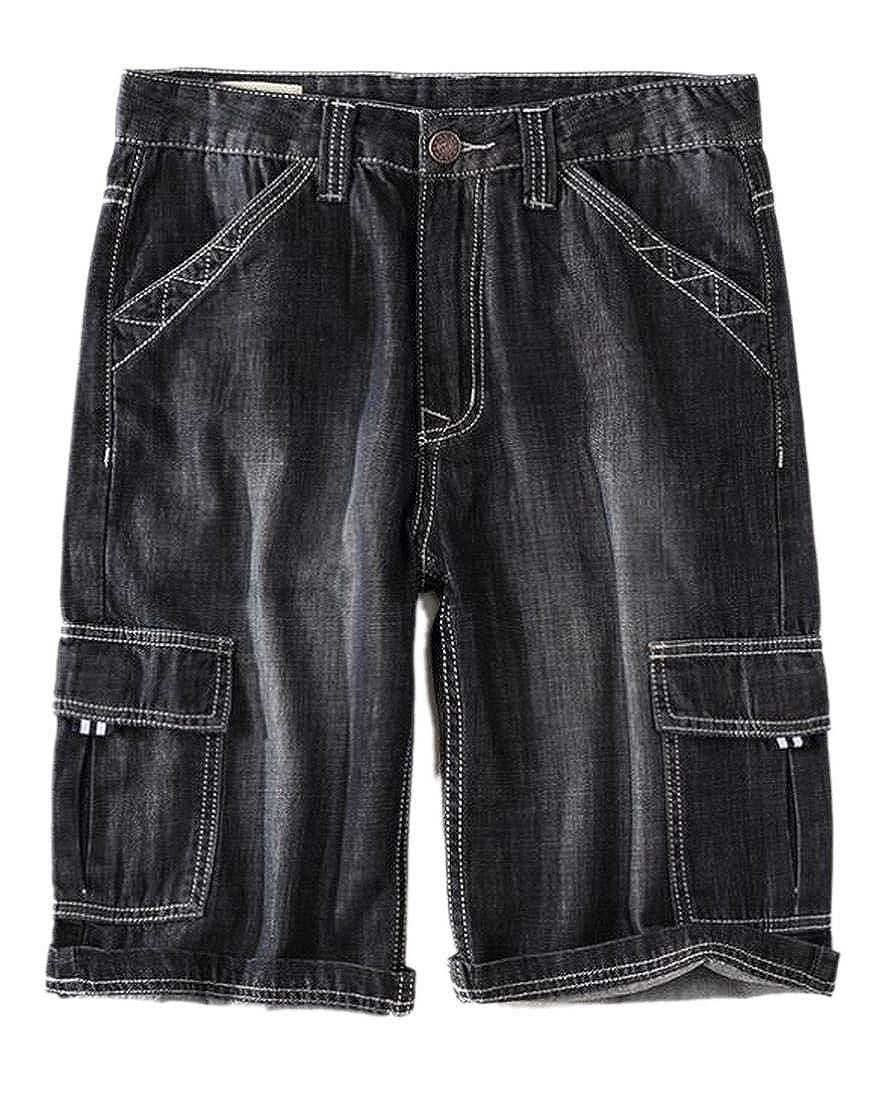 WSPLYSPJY Men Summer Multi Pockets Straight Leg Workout Denim Cargo Shorts Jeans