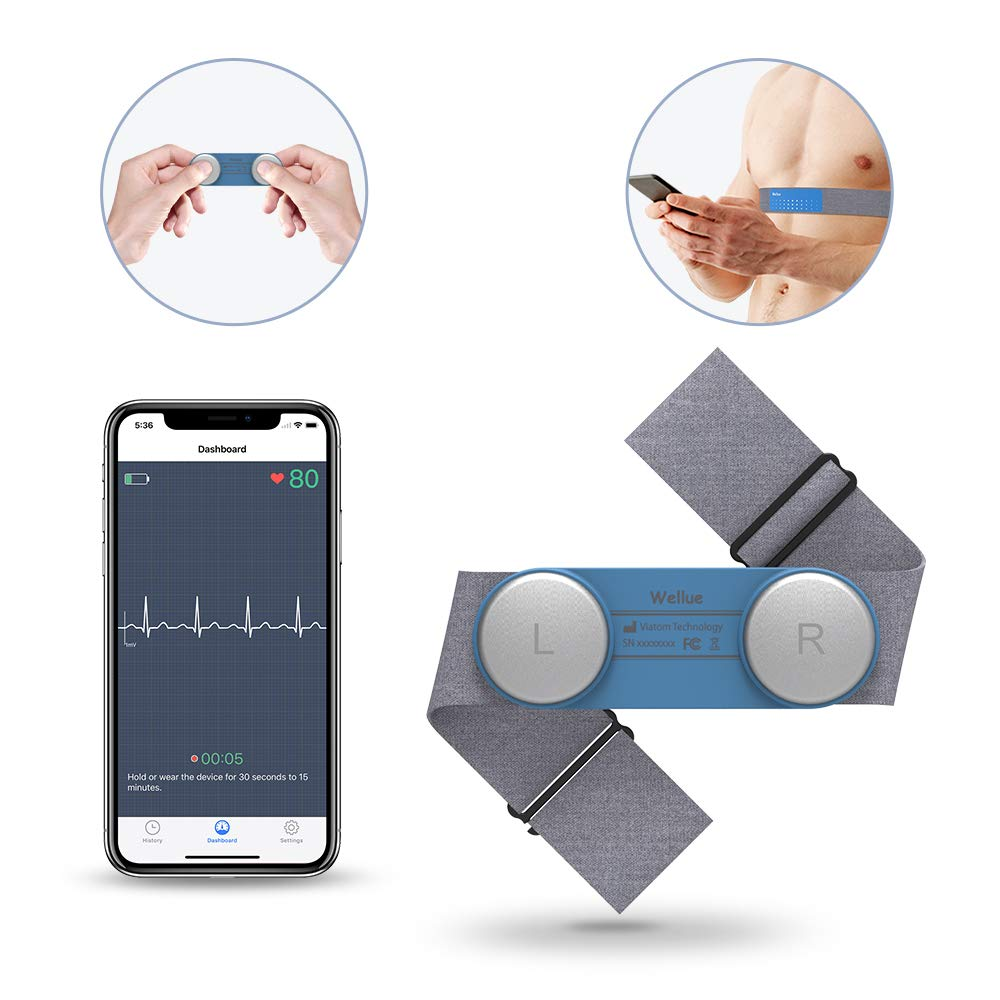 Heart Health Tracker, Wearable Chest Strap ECG EKG Recorder 30s-15min Built-in Memory W Free App PDF Report Wireless Heart Rate Monitor for Fitness Wellness Use