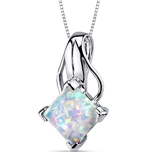 Created Opal Pendant Necklace Sterling Silver Princess Cut 2.00 Carats