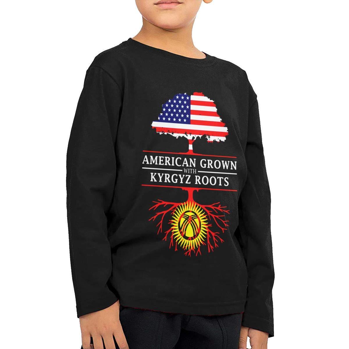 HADYKIDSLOVE American Grown with Kyrgyz Roots Kids T-Shirt Long Sleeve Boys Girls T-Shirt
