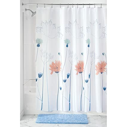 InterDesign 64120 Floral Meadow Fabric Shower Curtain