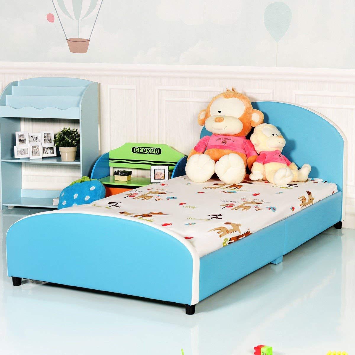 USMW Kids Children PU Upholstered Platform Wooden Bed Bedroom Furniture