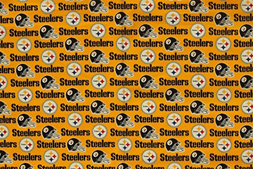 Pittsburgh Steelers Football Yellow Sheeting Fabric Cotton 5 Oz 58-60