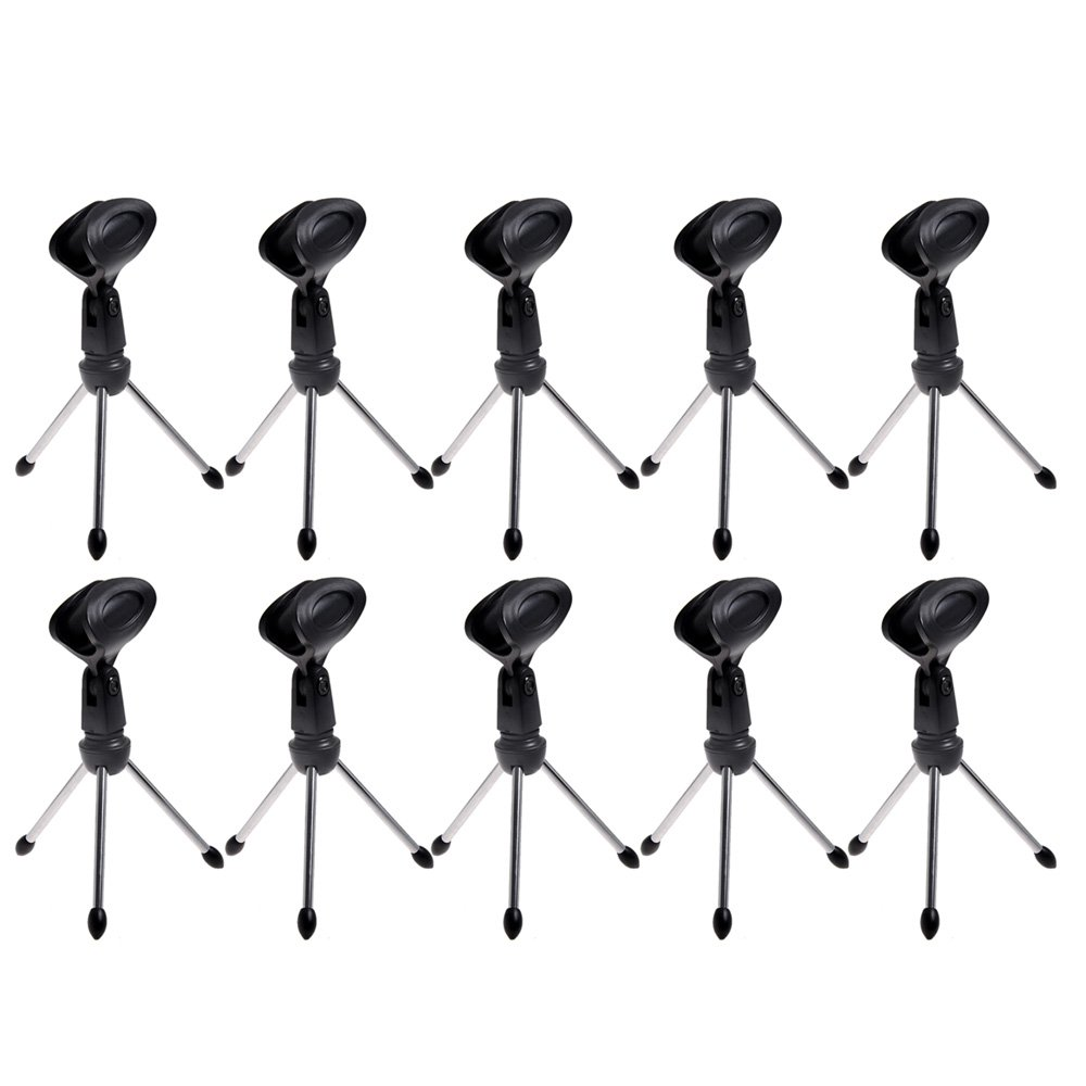 Kmise A6802 New Top Portable Desk Tripod Mini Mic Stand with Microphone Clip, 20 Set