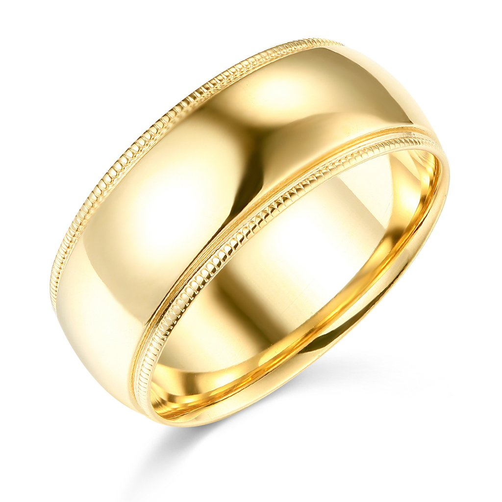 14k Yellow Gold 8mm Plain Milgrain Wedding Band - Size 6