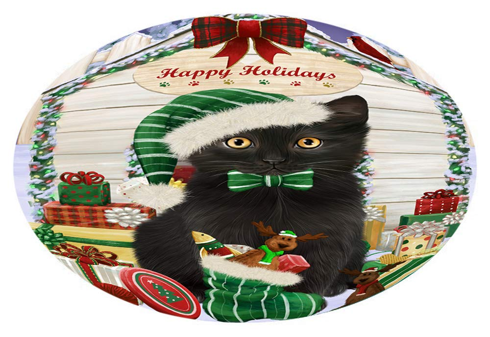 Doggie of the Day Happy Holidays Christmas Black Cat Presents Oval Envelope Seals OVE66552 (50)