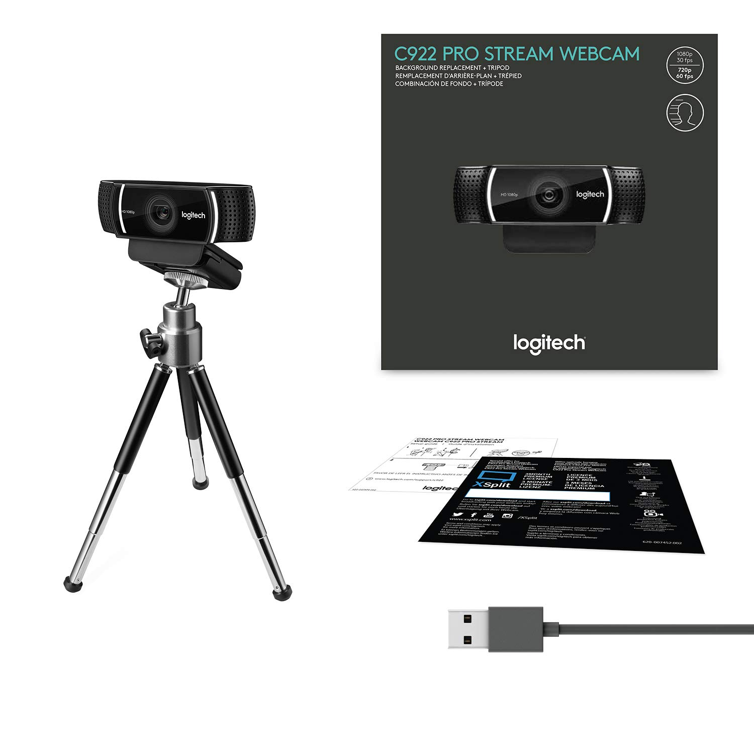 Logitech C922 Pro Stream Webcam 1080P Camera for HD Video Streaming & Recording 720P at 60Fps with Tripod Included by Logitech
