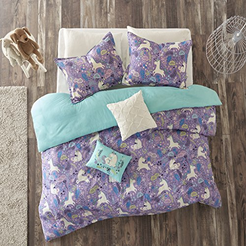 Urban Habitat Kids Lola Twin/Twin XL Duvet Cover Set Girls Bedding - Purple, Aqua, Unicorns – 4 Piece Kids Girls Duvet Set – 100% Cotton Bed Duvet Covers