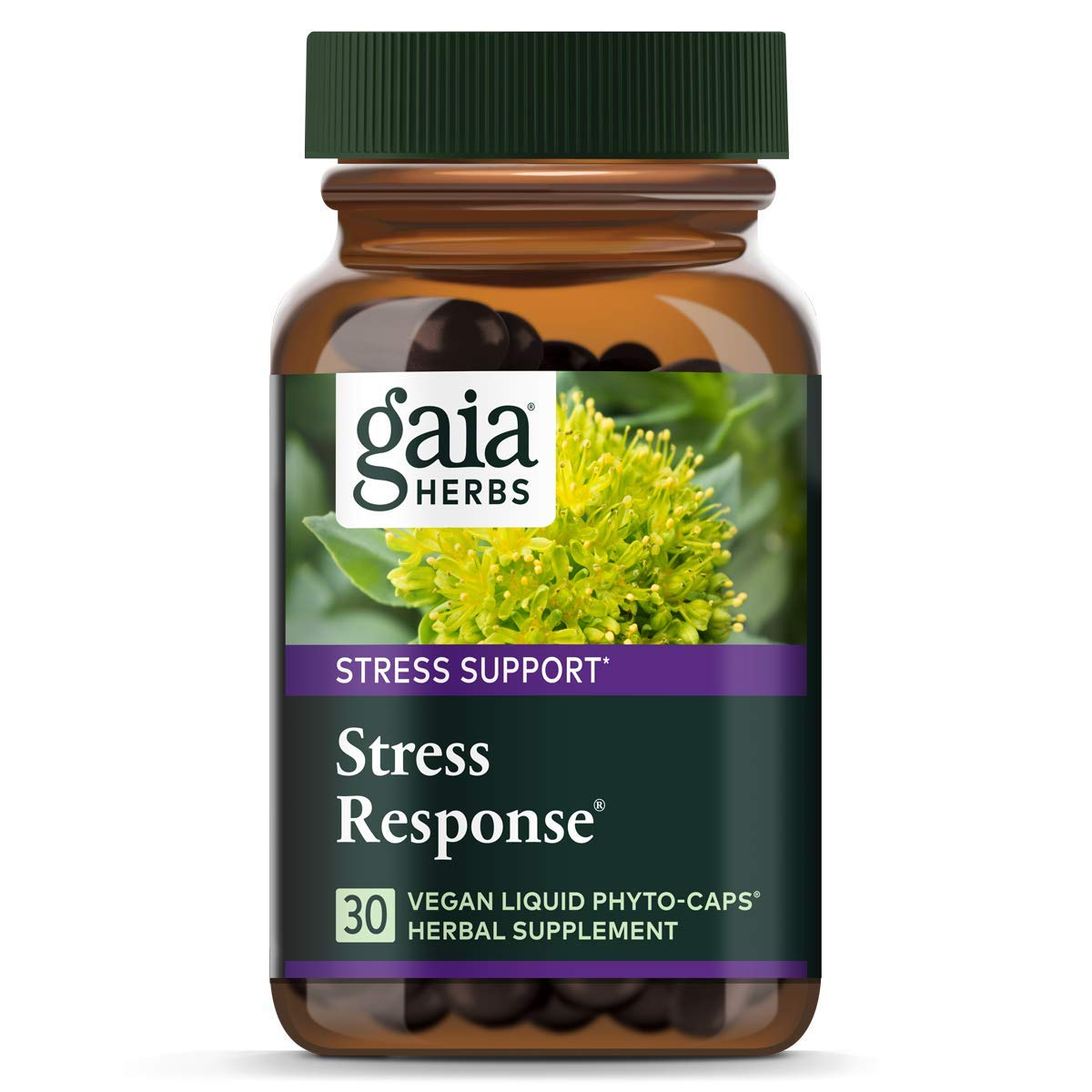 Gaia Herbs Stress Response, Vegan Liquid Capsules, 30 Count (Pack of 2) - Natural Stress Relief & Adrenal Fatigue Supplement, Calming Adaptogen Formula with Rhodiola, Ashwagandha, Holy Basil