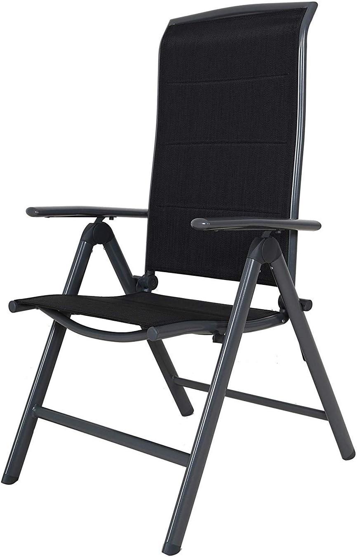 Chicreat - Silla plegable de aluminio Korfu, 67 x 59 x 114 cm, negro