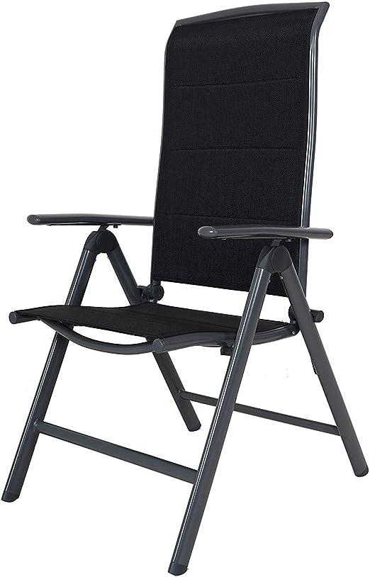 colore nero 67 x 59 x 114 cm Chicreat Korfu Sedia pieghevole in alluminio