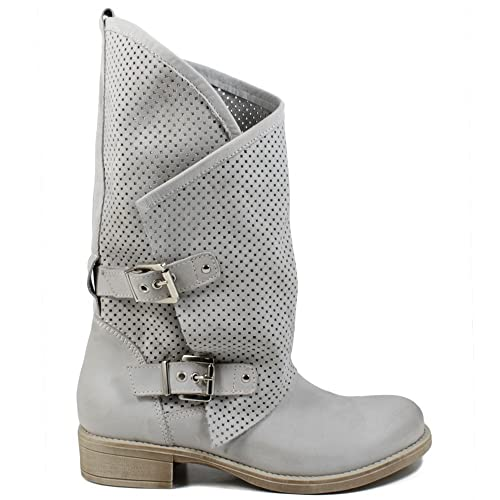 In Time Stivali Biker Boots Estivi Traforati Asimmetrici