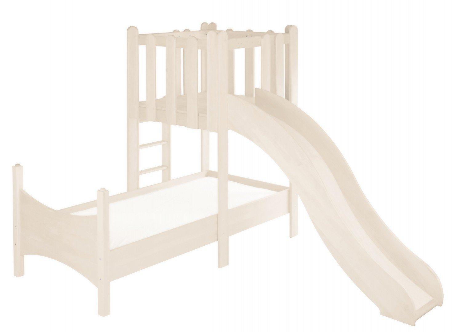 BioKinder 23881Noah Spar-Set Kinderbett mit Spielturm und Rutsche aus Massivholz Kiefer weiß