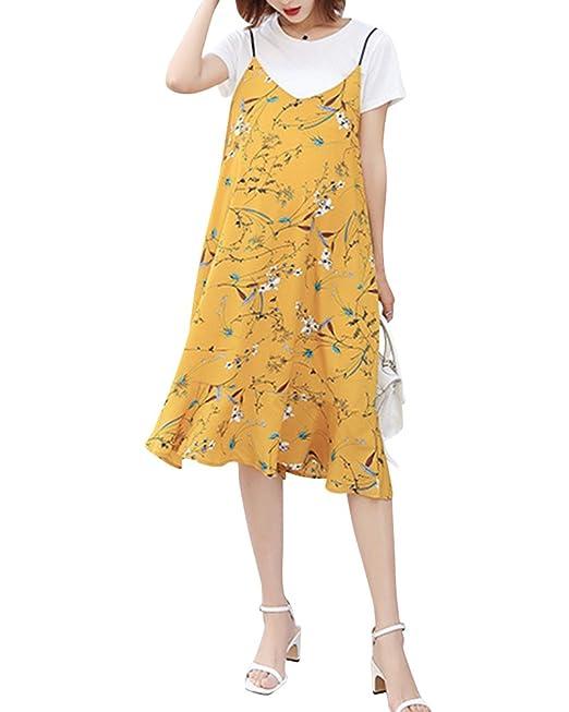 Premamá Vestidos Corto + Camiseta Conjuntos Verano Lactancia Vestido De Embarazada Amarillo L