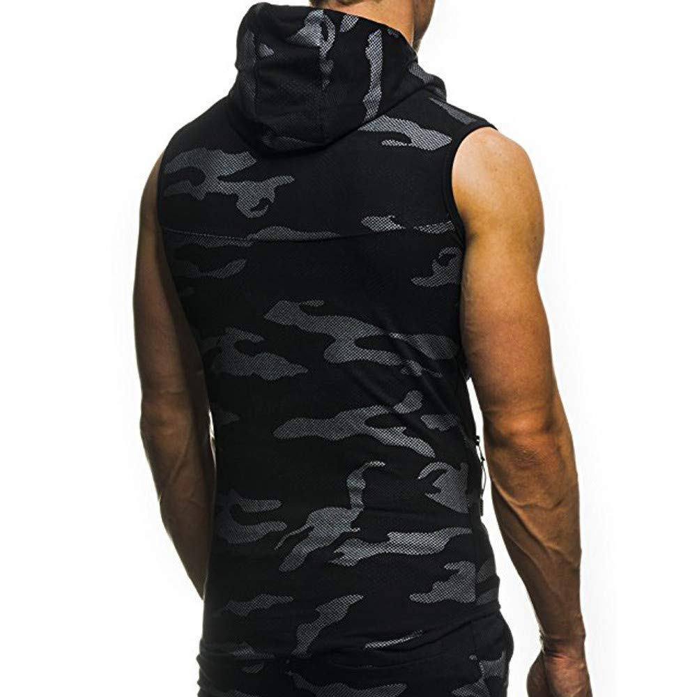 Mens Muscle Hoodie Tank Top Fitness Sports Sleeveless Vest T-shirts Bodybuilding