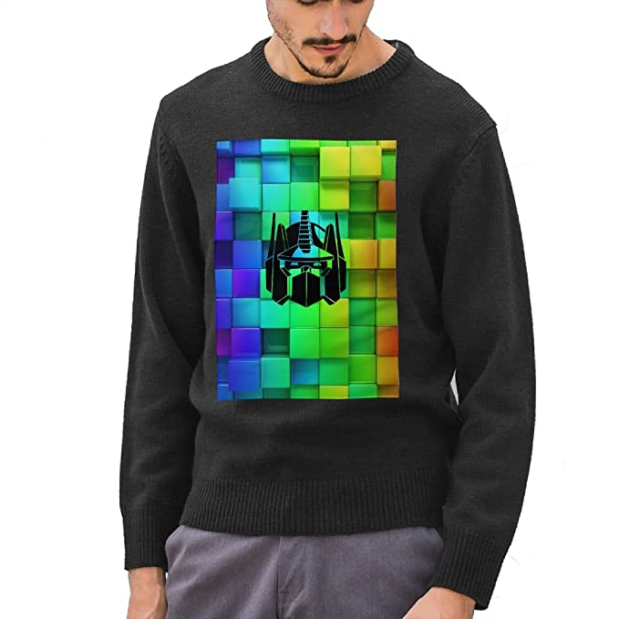 Kimberly Coltman Optimus Prime Transformers Logo Mens Pullover Sweaters Round Neck Knitted Black
