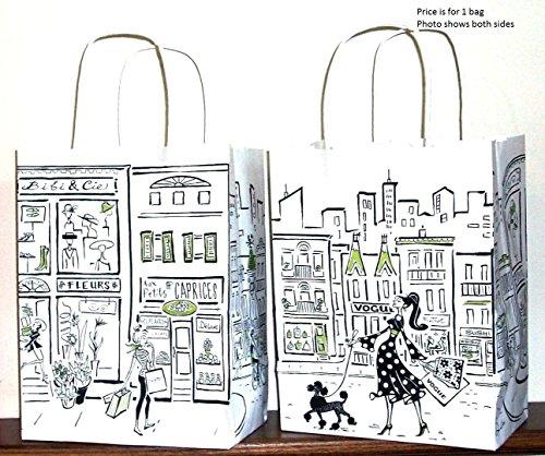 "Gift Bag - Medium, Paper - Parisian Themed - 10 1/2"" h x 7 3/4"" w x 4 3/4"" deep"
