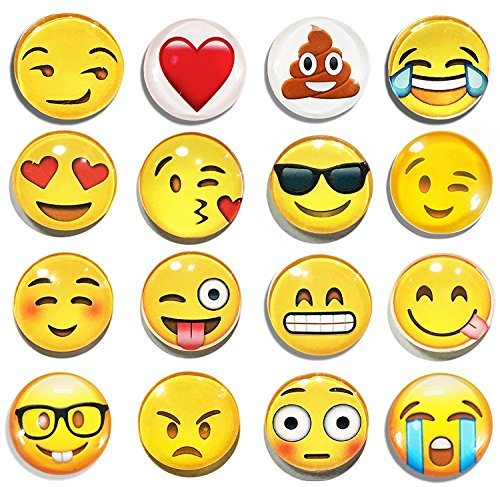 3d Magnet (TEKEFT 16 Pack Refrigerator Magnets, Emoji Magnets Fridge Magnets 3D Funny Cute School Lockers Accessories Set (16pcs Emoji))