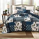 Tache 3 Piece Cotton Dark Navy Blue Nightfall Gardenia Patchwork Floral Reversible Quilt Bedspread Set, King