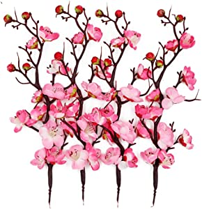 LSME Artificial Silk Plum Blossom Branch Real Touch for Table Wedding Bouquet Home Decor 4 Branches (Pink)