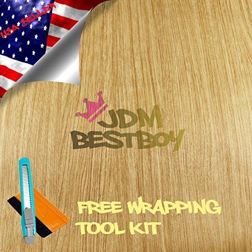 free-tool-kit-oak-wood-textured-grain-vinyl-wrap-sticker-decal-car-furniture-kitchen-cabinet-applica