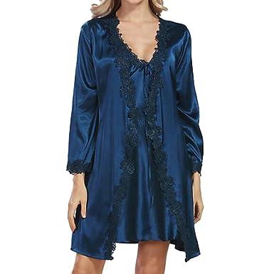 e9feb3fc97b07 Hzjundasi Femmes 2Pcs Soie Manche longue Vêtements de nuit Kimono Garniture  en dentelle Chemise de nuit