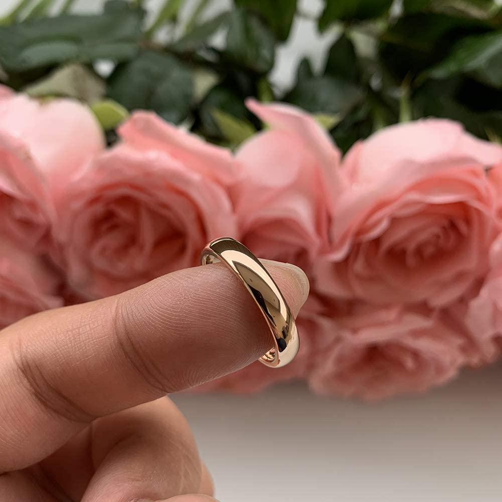 iTungsten 2mm 4mm 6mm 8mm Rose Gold Titanium Rings for Men Women Engagement Wedding Bands Classic Domed Polished Shiny Comfort Fit