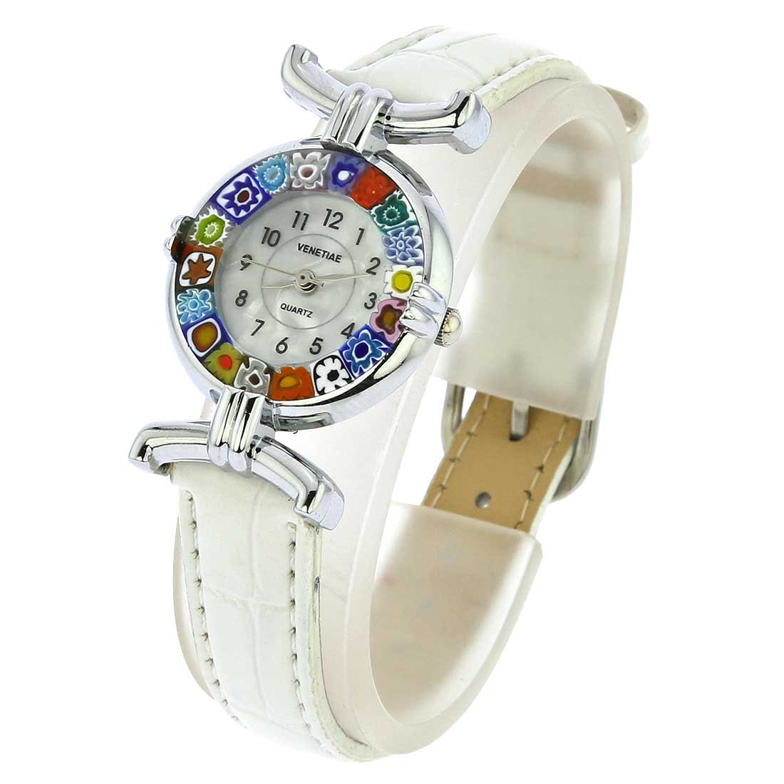 Amazon.com: GlassOfVenice Murano Glass Millefiori Watch with Leather Band - White: Watches