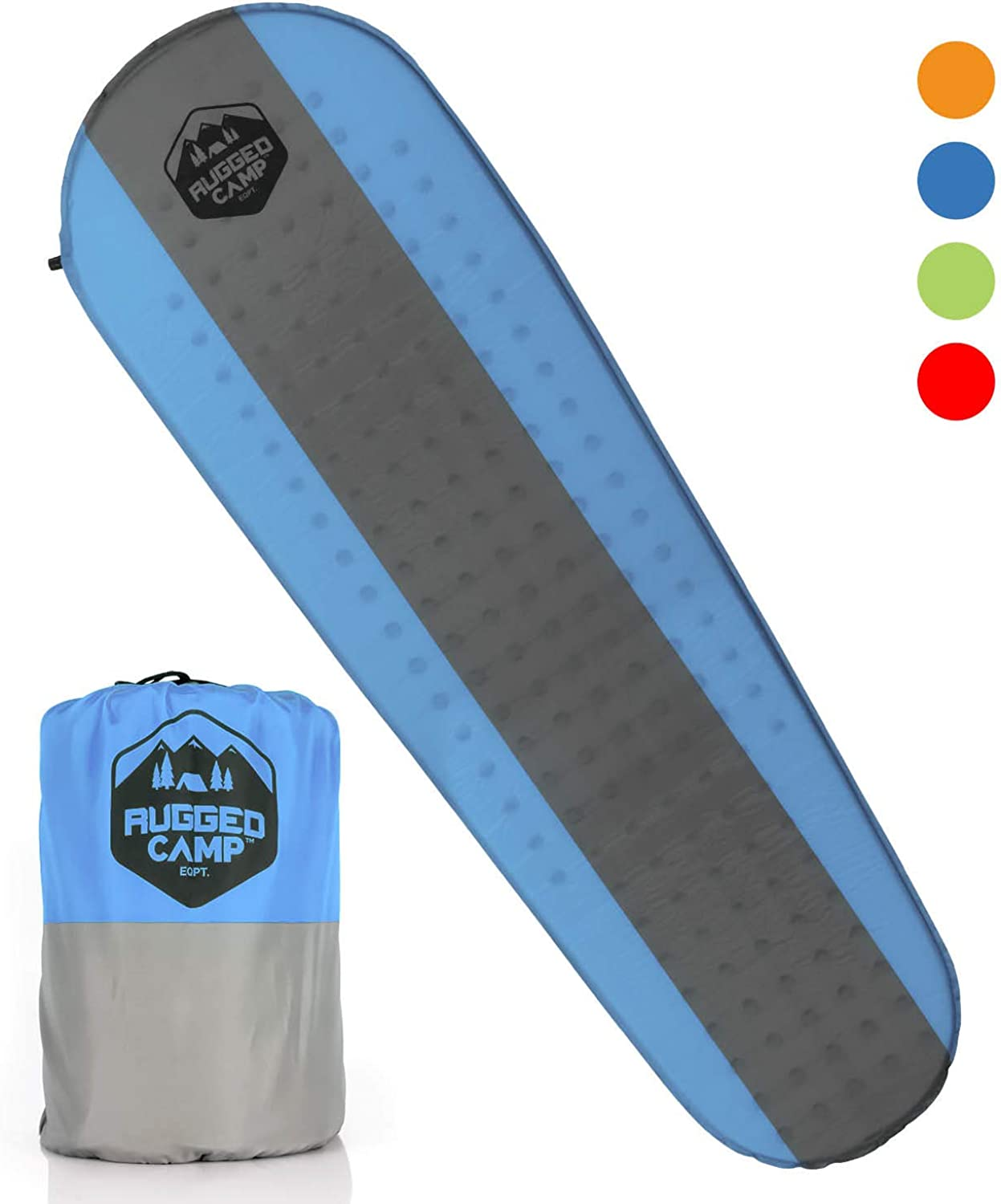 Rugged Camp Self Inflating Camping Mat - Foam Sleeping Pad is 1.5 Inches Thick Perfect for Hiking, Backpacking, Travel - Lightweight, Waterproof & Compact Camping Air Mattress (Multiple Colors)