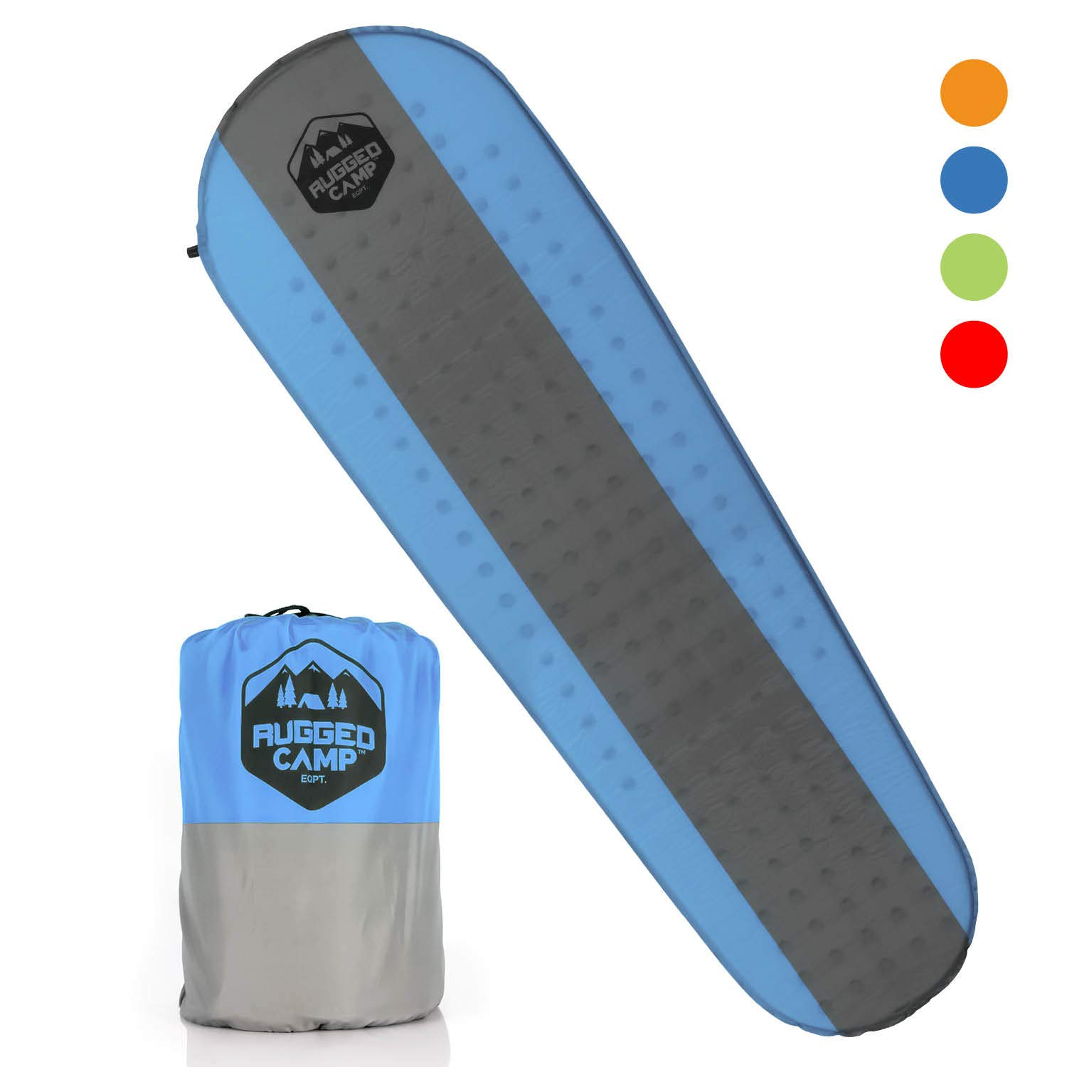 Rugged Camp Self Inflating Sleeping Pad - Sleep Comfortably in The Outdoors - Camping Gear and Accessories for Hiking, Backpacking, Travel - Lightweight and Compact Camping Mat (Blue) by Rugged Camp