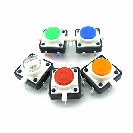 5pcs White Led Tactile Button Push Switch Momentary Tact With Led Round Cap Active Components Integrated Circuits