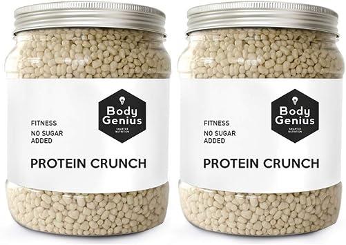 BODY GENIUS Dúo Protein Crunch (Chocolate Blanco). 2x500g. Cereales Proteicos. Bolitas de Proteína Recubiertas de Chocolate Sin Azúcar. Bajo en ...