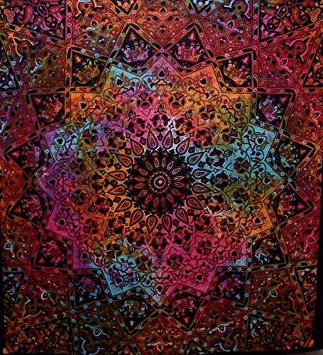 Popular Handicrafts Tie Dye Star Tapestry Elephant Tapestry Mandala Tapestry Wall Hanging Tapestry Boho Tapestry Hippie Hippy Tapestry Beach Throw Coverlet Curtain 90x84 Inches, Multi Color]()