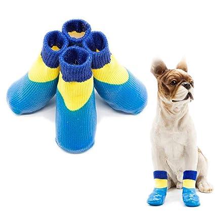 KOBWA - Calcetines Antideslizantes para Perro (4 Unidades, Impermeables, para Uso en Interiores