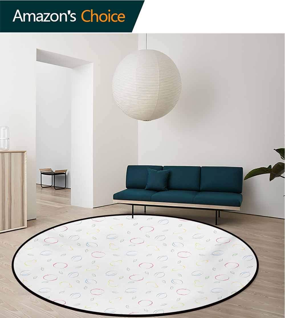 RUGSMAT Colorful Modern Washable Round Bath Mat,Crayon Drawing Style Pattern with Different Fruits and Green Leaves Healthy Eating Non-Slip Bathroom Soft Floor Mat Home Decor,Round-55 Inch by RUGSMAT (Image #3)